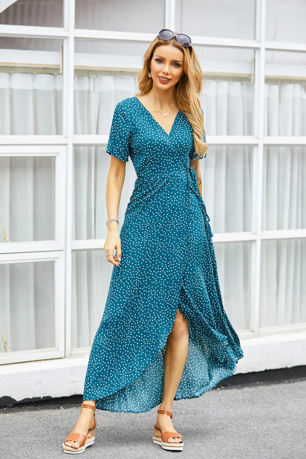 V-neck Short Sleeves Tassel Polka Dot Maxi Dress